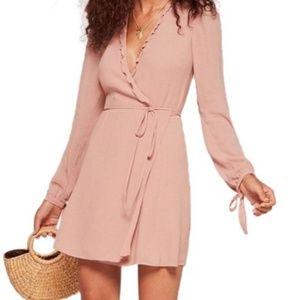 Reformation pink ruffle wrap dress